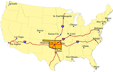 Map of the contiguous United States, including the location of Oklahoma and major U.S. cities and highways.