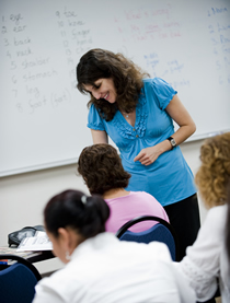 Female instructor in a classroom