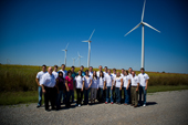 Photo of SWOSU leadership class and wind turbines.