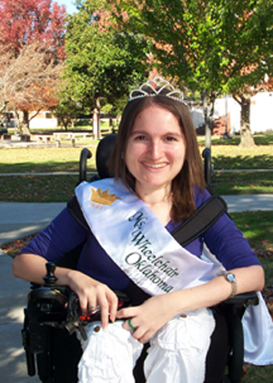 Photo of Samantha Moreno, ECU graduate, who was crowned Ms. Wheelchair Oklahoma.